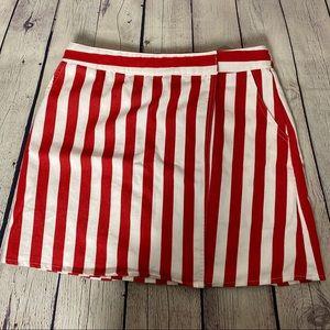 She + Sky Red/White Candy Stripe Skirt L